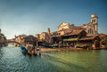 Squero san trovaso gondola boatyard in venice italy image of Stock Photo