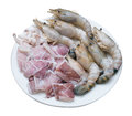 Squid and black tiger prawn meat isolated on white with clipping path seafood dish Stock Photos