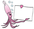 Squid Holding Sign and Pointing Royalty Free Stock Photos
