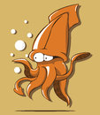 Squid illustration letter of on brown background Royalty Free Stock Photography