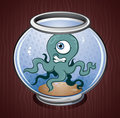 Squid Octopus In A Fish Bowl Royalty Free Stock Images