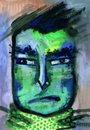 Squint creature portrait tempera painting of disgusting man Royalty Free Stock Photo