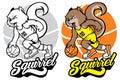 Squirrel basketball mascot Royalty Free Stock Photo