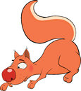 The squirrel is cheerful cartoon little red Stock Image