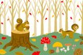 Squirrel harvesting in autumn forest vector illustration of Stock Image