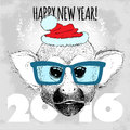 Squirrel monkey hipster with blue glasses and christmas hat merry happy new year vector illustration for placard Stock Image