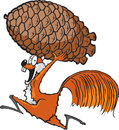 Squirrel with pinecone a cartoon running a high resolution jpeg file Royalty Free Stock Image