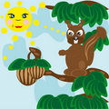 Squirrel in solar weather tries to get a wood nut Stock Photo
