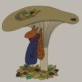 Squirrel under a mushroom hand drawn Stock Photo