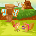 Squirrels illustration of landscape cartoon squirrel and tree house Stock Photo