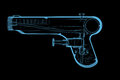 Squirt gun d xray blue transparent isolated on black background Royalty Free Stock Photography