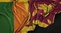 Sri Lanka Flag Wrinkled On Dark Background 3D Render