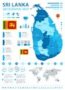 Sri Lanka - infographic map and flag - Detailed Vector Illustration