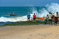 Sri lanka november indian ocean fishermen pull the net with fish bentol Stock Image