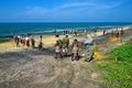 Sri lanka november indian ocean fishermen pull the net with fish bentol Stock Images