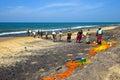 Sri lanka november indian ocean fishermen pull the net with fish bentol Royalty Free Stock Images