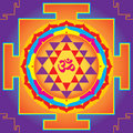 The sri yantra illustration of aum of indian religions Royalty Free Stock Photo