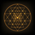 Sri Yantra - symbol of formed by nine interlocking triangles that radiate out from the central point. Sacred geometry.