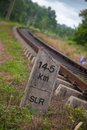 Srilankan old ralway track km slr mil post at ragama srilanka on Stock Image