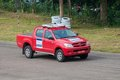 Srilankan safty car toyota hilux rideing on panala track in srilanka on panala race Royalty Free Stock Image