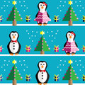 SSeamless pattern with geometrical Mr and Mrs Penguin, gifts with ribbon, snow, Christmas trees with  pink lights and star element Royalty Free Stock Photo