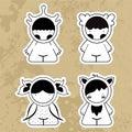 Sset cartoon cute monsters. Vector illustrations girls.