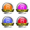 Ssl secured icon set four icons on a white background Royalty Free Stock Photos