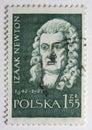 Stämpel för herrn för Isaac Newton ståendestolpe Arkivbild