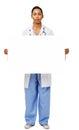 Stående av säker doktor holding blank billboard Arkivbilder