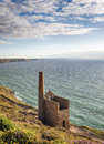 St agnes in cornwall wheal coates tine mine engine house on the cliffs at Royalty Free Stock Photos