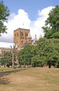 St Albans Cathedral from the park Stock Images
