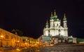 St andrew church and descent kiev ukraine Royalty Free Stock Photos