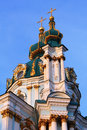 St andrew church very famous touristic place in kiev of over blue sky Royalty Free Stock Images