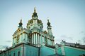 St andrew s church in kiev ukraine late evening Royalty Free Stock Photo