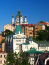 St andrew s church kiev ukraine and old houses Stock Image