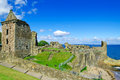 St Andrews Castle ruins landmark. Fife, Scotland. Stock Images
