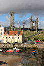 St andrews harbour at low tide st andrews fife view from the wall in scotland to boats by the kinness burn which runs through the Royalty Free Stock Photography