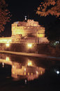 St angelo castle in the night view of with reflection on tiber river Royalty Free Stock Image