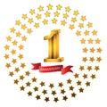 1st anniversary year celebration logotype. Logo gold numbers and ribbon white background