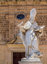 St augustine statue saint in front of the convent in victoria gozo malta Royalty Free Stock Image