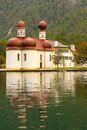 St bartholoma church konigssee germany bartholomew s viewed from the lake Royalty Free Stock Images