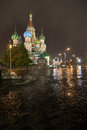St basil cathedral night view of s and red square in moscow Royalty Free Stock Images