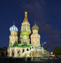 St basil cathedral on red square cathedral of the protection of the virgin on the ditch at night moscow russia Royalty Free Stock Photography