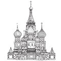 St basil cathedral red square moscow russia vector illustration isolated on white background russian ancient city view cityscape Royalty Free Stock Images