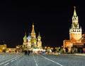 St basil at night time beautiful red square and church in the Royalty Free Stock Photography