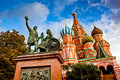 St basils cathedral on red square moscow with the monument for minin and pozharsky in russia Royalty Free Stock Photo
