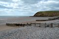 St bees beach scenic view of shingle and breakwaters on cumbria england Stock Images
