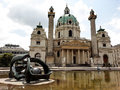 St charles s church vienna austria exterior of the architecture with an art piece in the fountain Stock Photo