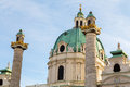 St charles s church in vienna closeup a to part of karlskirche during the day Royalty Free Stock Images