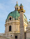 St charles s church in vienna closeup a to part of karlskirche during the day Royalty Free Stock Image